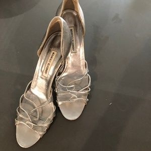 Manolo Blahnik silver womens strappy d'orsay heels